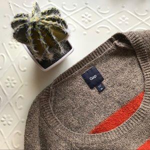 * GAP * Orange Taupe Cotton Wool Stripe Sweater XL